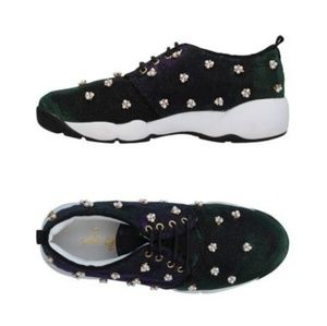 So Queen strass encrusted and fur trimmed sneakers